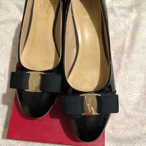 Feragamo 1 Inch Black Patent Box Heel Size 6.5